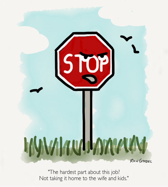 What the stop sign says